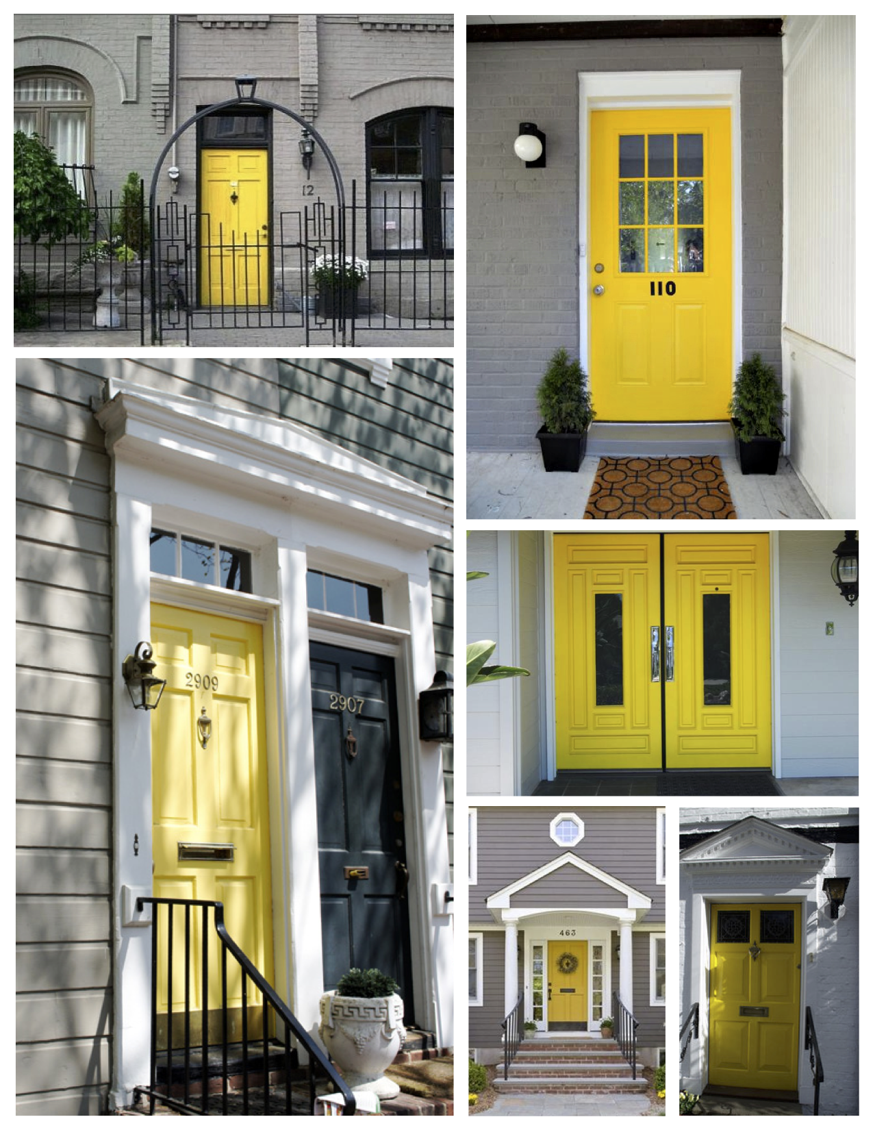 exterior color inspirations: the bright & bold yellow door