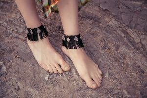 New Crafturday Photo Series- Black Turkish Coin Anklet 2